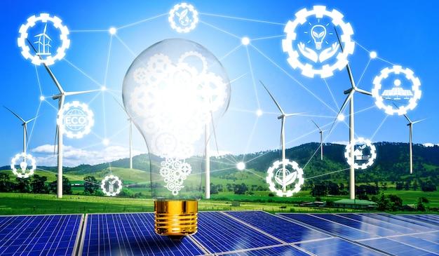 Energy innovation light bulb graphic interface