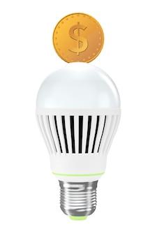 에너지 절약 개념입니다. 흰색 바탕에 황금 동전 led 전구