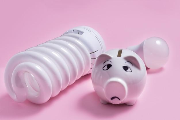 에너지 절약 램프 및 배경색에 돼지 저금통