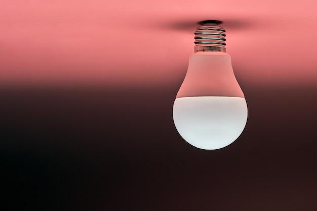 Энергосберегающая лампочка, копия пространства, розовый фон. концепция минимальной идеи.