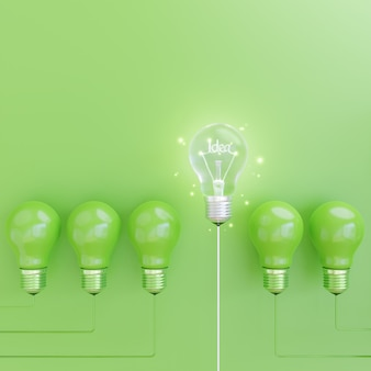 Energy saving light bulb on green background with idea concept