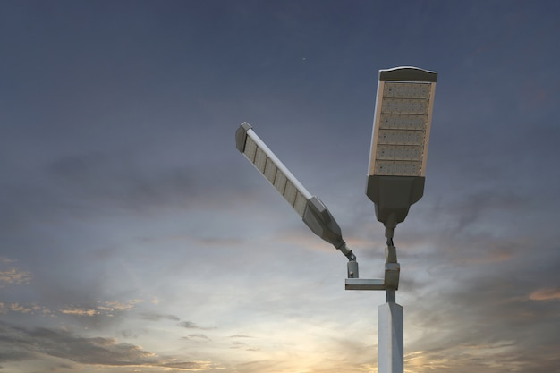 Energy saving of solar led light pole on sky background.