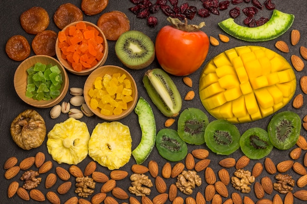 Energy snack candied fruit, dry fruit  nut. vegetable vegan food. healthy nutrition concept.
