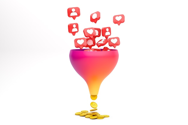 Engagement conversion funnel concept
