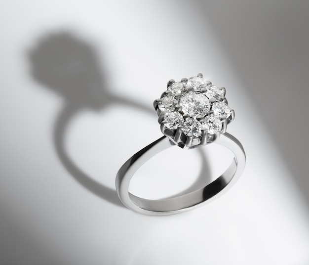 Engagement diamond ring on white background