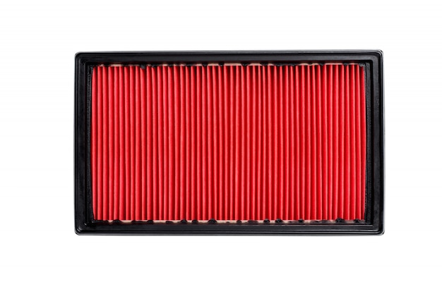 Engine air filter in a plastic case on a white background isolated
