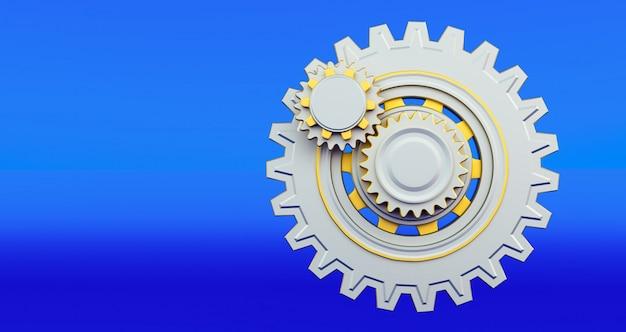 Engine gear wheels, industrial background. 3d rendering