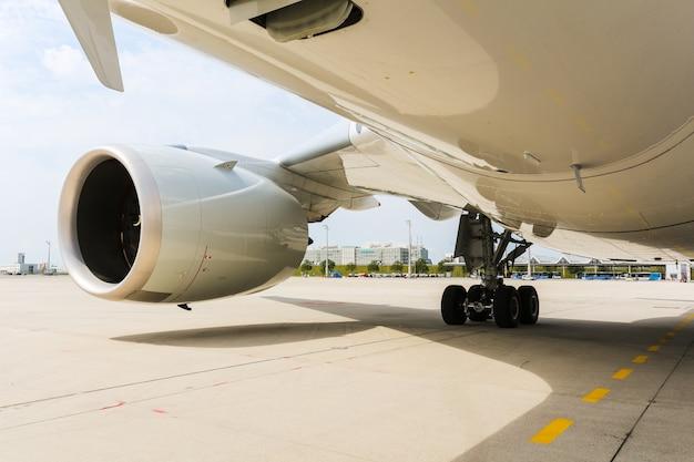 Engine of modern passenger jet airplane. rotating fan and turbine blades.
