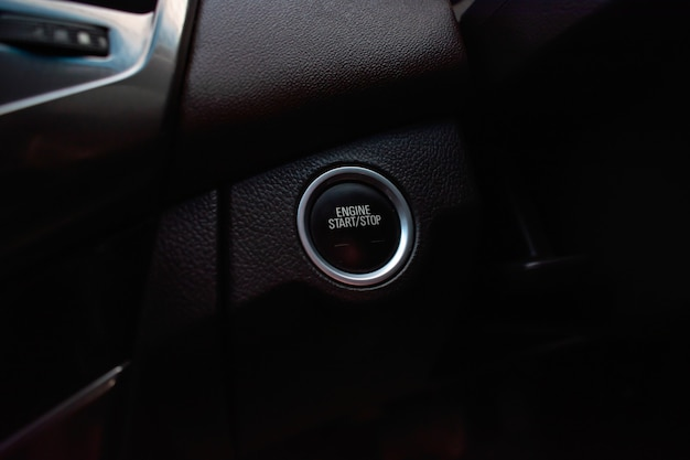 Engine start button in the car