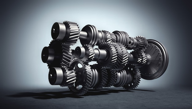 기어 및 톱니 메커니즘이있는 엔진