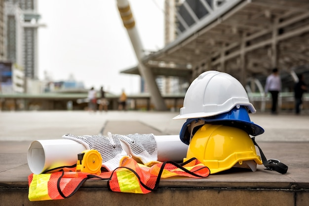 Engineer and construction equipment in city