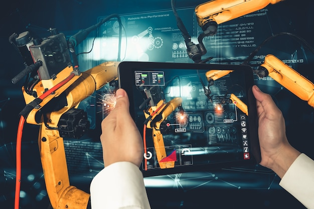 Engineer controls robotic arms by augmented reality industry technology