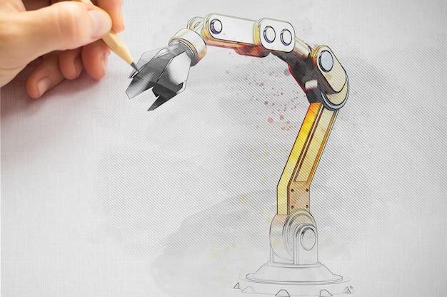 ロボット工学プロジェクトを描くエンジニア