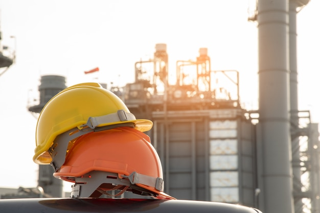 A engineer helmet at construction site