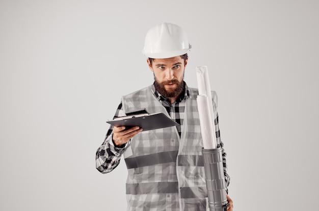 주황색 헬멧 청사진 전문 스튜디오 산업의 엔지니어