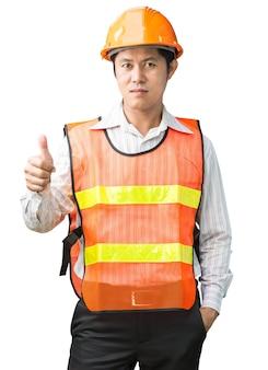 Инженер в жилете безопасности на белом фоне