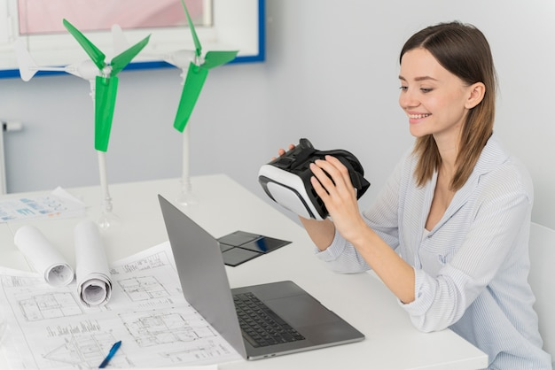 Engineer innovating energy in virtual reality style