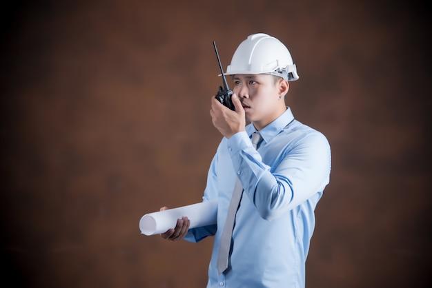 Engineer man, construction worker concept