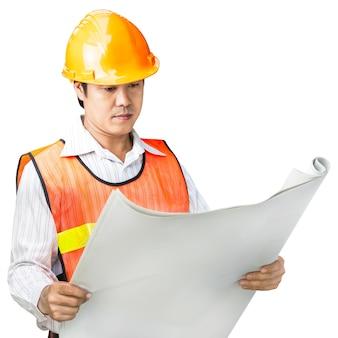 Инженер в форме безопасности, изолированные на белом фоне