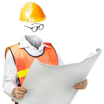 Униформа инженер человек, изолированные на белом фоне
