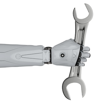 3d 렌더링 로봇 손을 잡고 렌치를 흰색으로 격리하는 엔지니어 로봇 개념