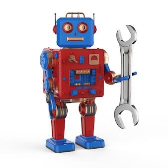렌치가 있는 3d 렌더링 로봇 주석 장난감이 있는 엔지니어 로봇 개념
