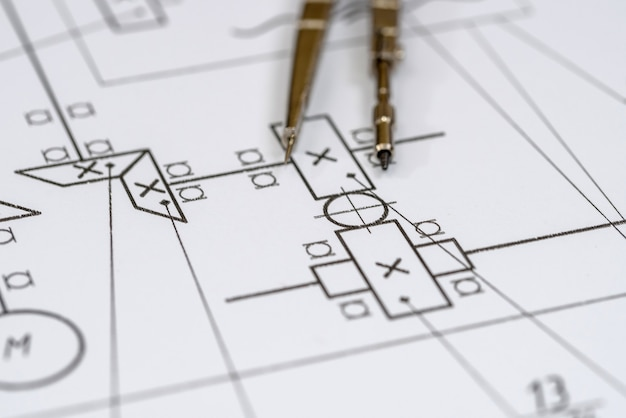 Engineer's drawing on white paper as background close up