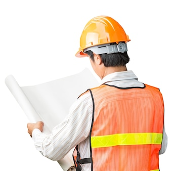 Engineer in safety vest checking blank plans on white background