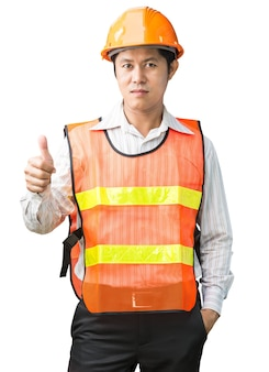 Engineer in safety vest on white background