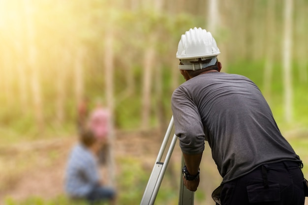 Engineer surveyor working surveyor