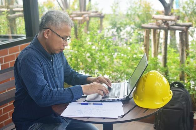 Engineer uses computer