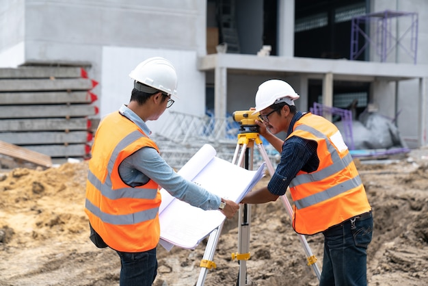 Engineer working on building site