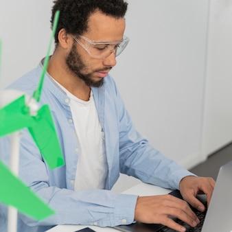 Engineer working on energy innovations