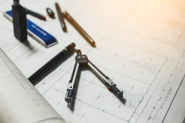 Engineering and drawing tools on the table