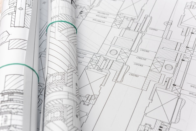 Engineering drawings on table. engineering and science
