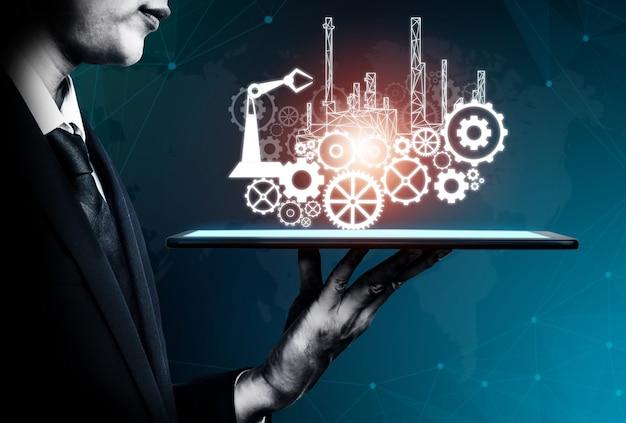 Инжиниринг с графическим интерфейсом, демонстрирующим дизайн автоматизации, работу роботов, использование машинного глубокого обучения для будущего производства.