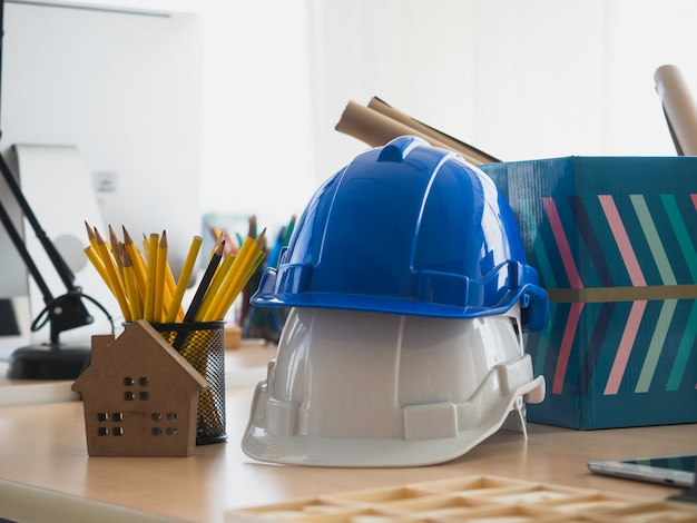 Engineers' desk with consists of various tools