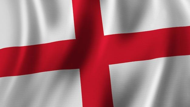 Флаг англии развевается крупным планом 3d-рендеринг с высококачественным изображением с текстурой ткани
