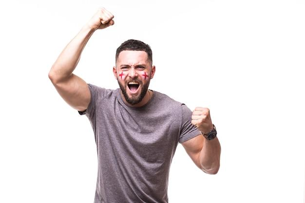 イングランドが勝ちます。白い背景のイングランド代表のゲームサポートでイングランドのサッカーファンの勝利、幸せとゴールの悲鳴の感情。サッカーファンのコンセプト。