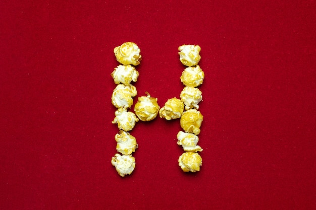 English alphabet from cinema popcorn. letter h.