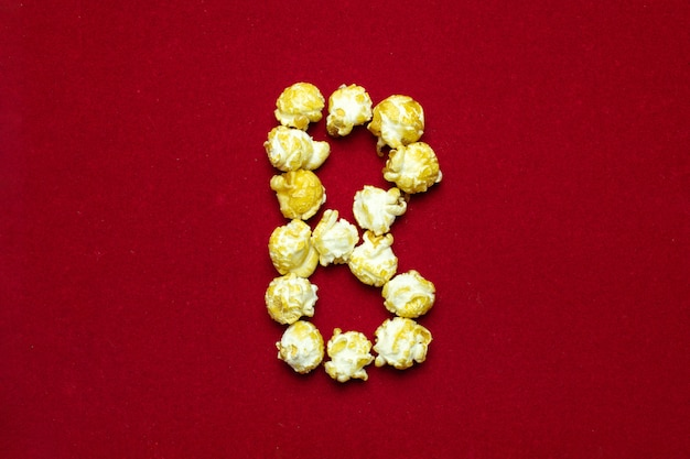English alphabet from cinema popcorn with  letter b