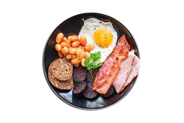 Английский завтрак жареные яйца свежий кровяная колбаса хлопья хлебные бобы бекон яичница