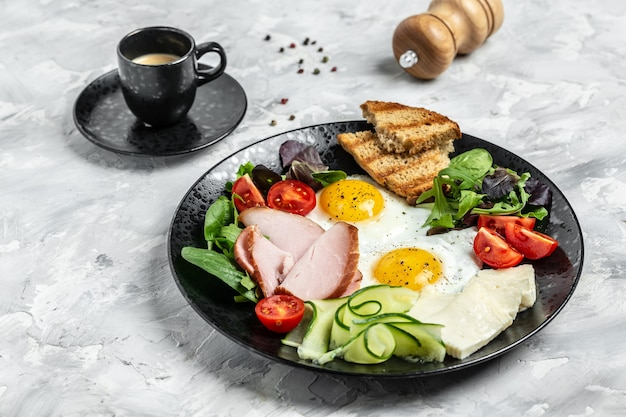 English breakfast toast, egg, bacon and coffee. banner, menu recipe place for text, top view.