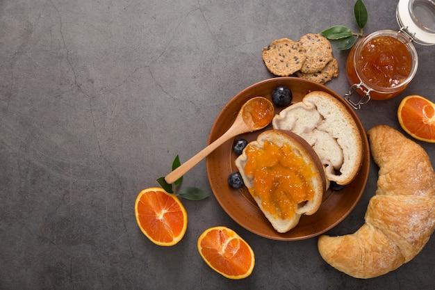 English breakfast with organic homemade marmalade