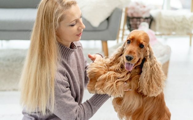 家の床に座っている愛情のある女性の所有者とイングリッシュコッカースパニエル犬