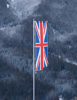 Английский флаг развевается ветром против леса, покрытого снегом