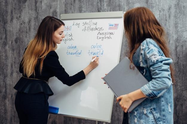 Школа английского языка. урок, учитель и ученик разговаривают.