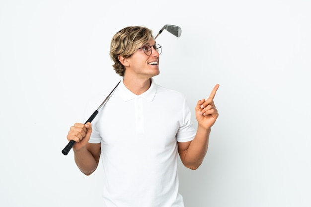 English man playing golf pointing up a great idea