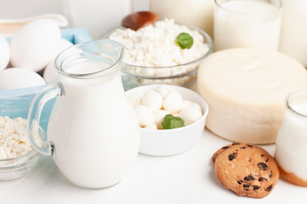 English morning breakfast with milk and cookies