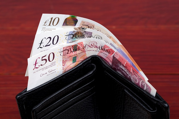 English pounds in a black wallet